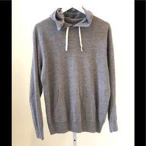 J Crew Men's Lightweight Grey Sweater Hoodie Sz M